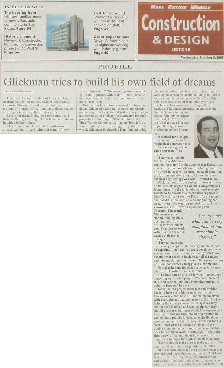 Glickman Tries to Build His Own Field of Dreams