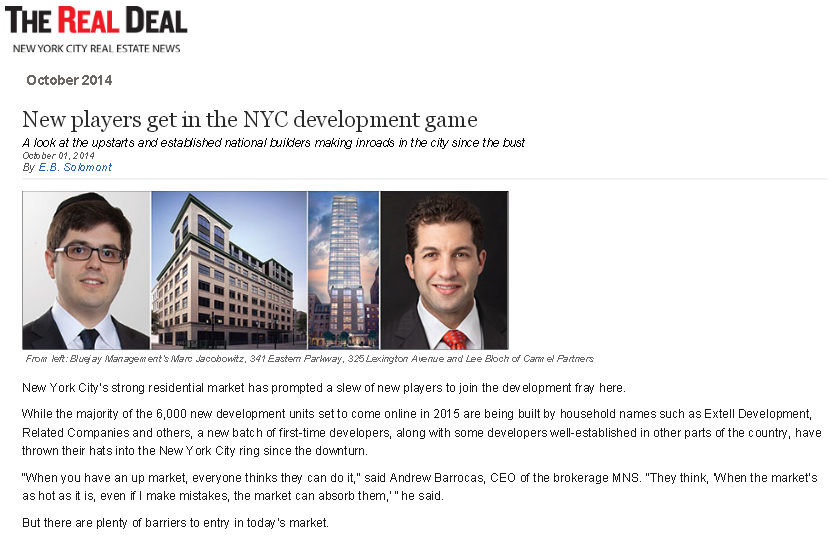NEW PLAYERS GET IN THE NYC DEVELOPMENT GAME