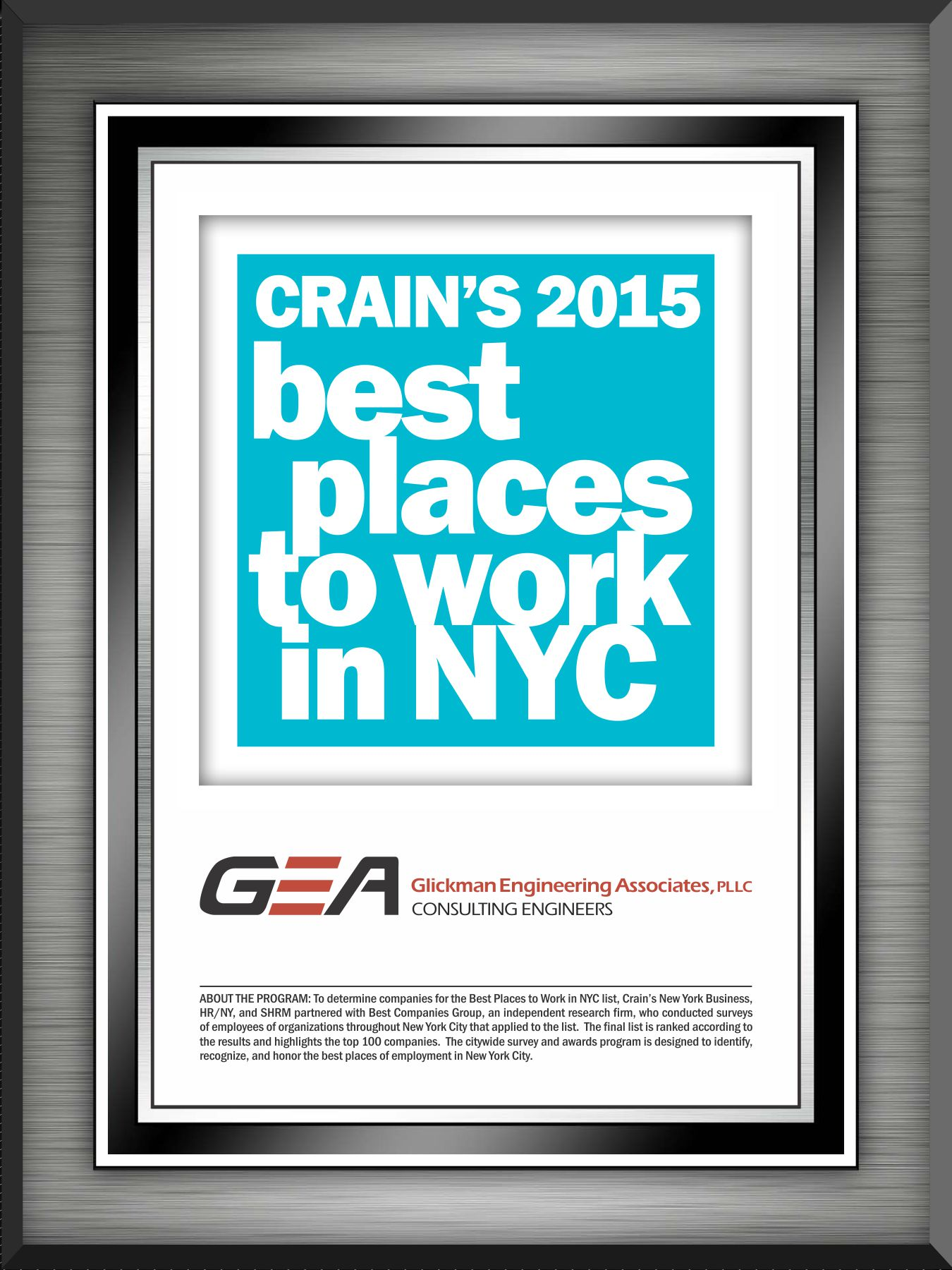 "GEA Makes the Coveted ""Crain's 100 Best Firms to Work For in NYC"""