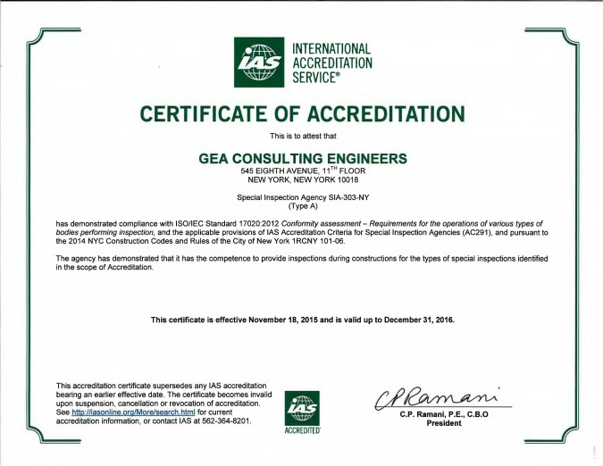 gea-certified special inspection agency